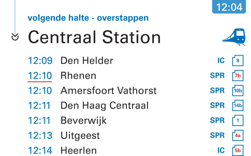 Reizigers die op CS aankomen zien nu ook de eerst vertrekkende treinen. Ook gewijzigde sporen worden hier in rood weergegeven.