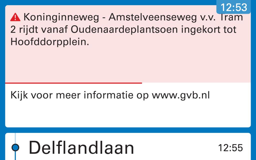 Voorbeeld van verstoringsinformatie via de nieuwe reisinformatieysstemen