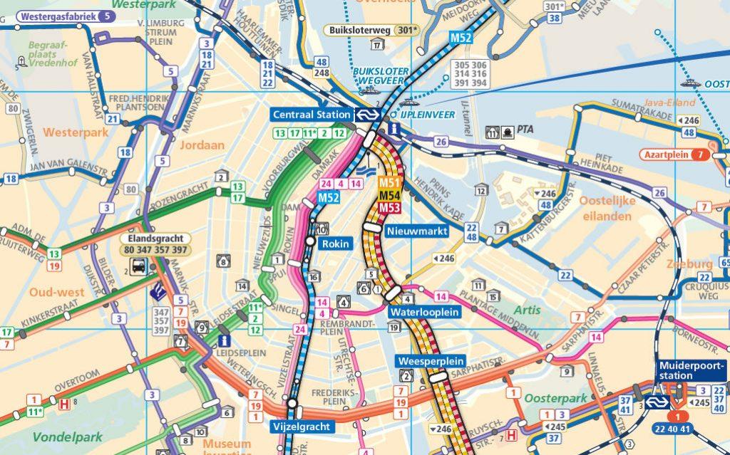 Uitsnede uit de concept-lijnenkaart. Opvallende verschillen met de oude kaart: minder details, afzonderlijke lijnen worden grafisch weergegeven en het kleurgebruik is zachter.