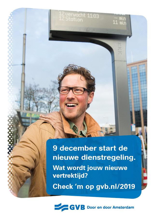 Campagnebeeld start nieuwe dienstregeling. Kijk op gvb.nl om te zien wat er eventueel voor jou verandert.