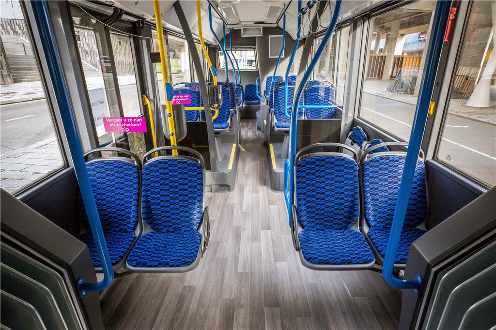 Het interieur van de nieuwe bus.