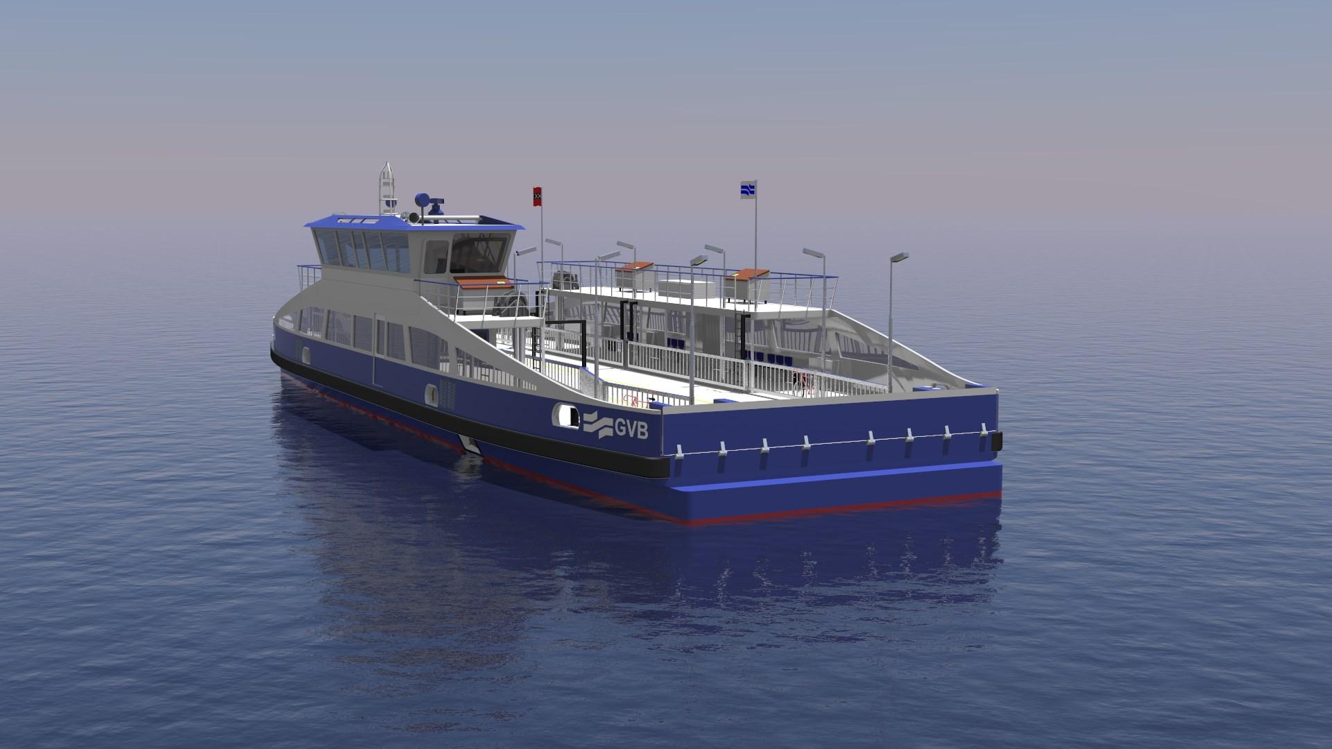 Nieuwe elektrische Noordzeekanaal veerpont ontwerp door C-Job Naval Architects