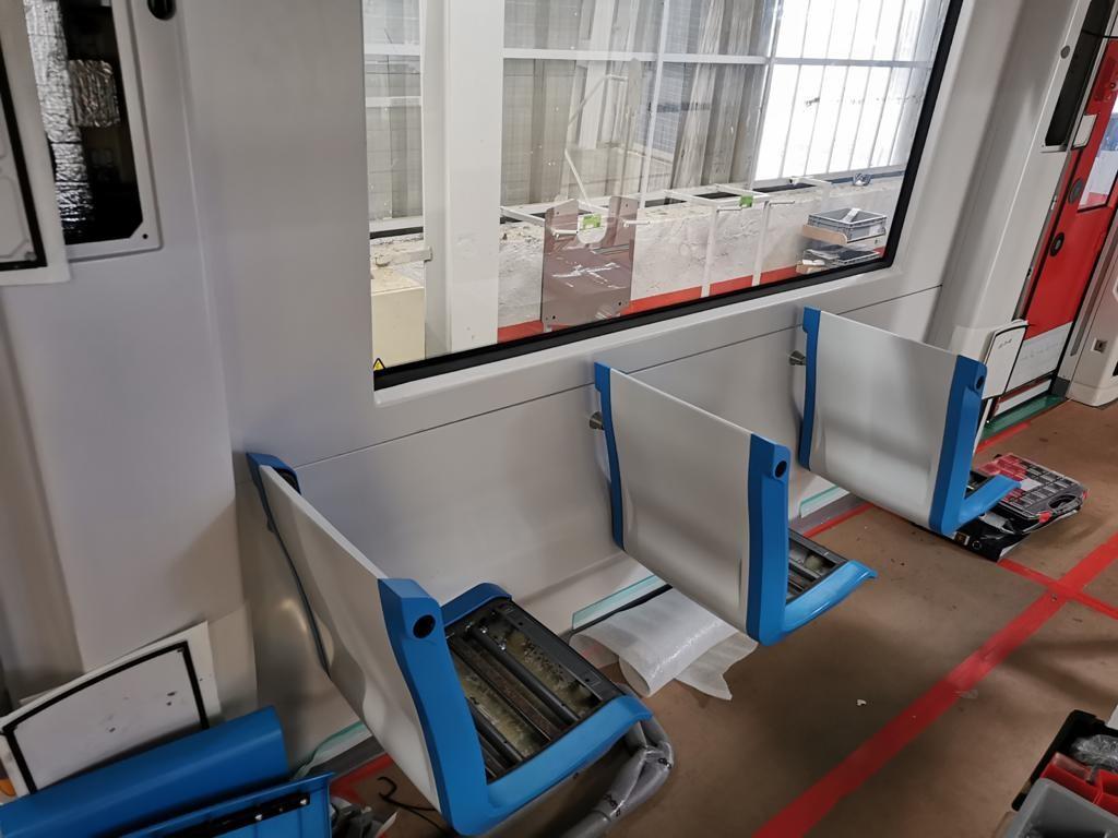 Bouw nieuwe M7 metro interieur